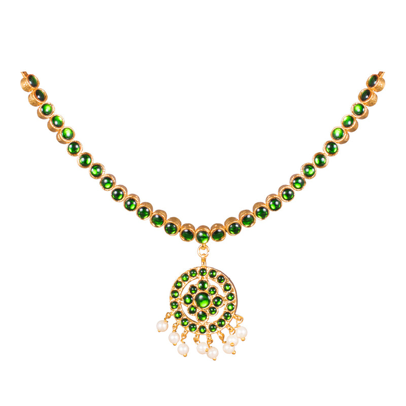 Green Colour Kemp Traditional Short Necklace