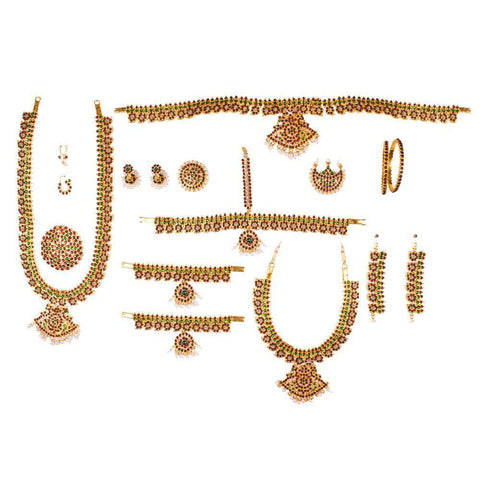 Magnificient Show Bharatnatyam Temple Jewellery set