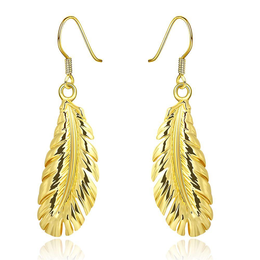 Gold Plated Leaf Design Earrings