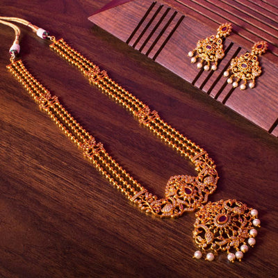 Zircon long layered necklace set