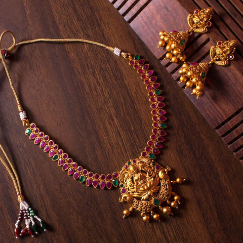 Gold plated laxmi pendant necklace set