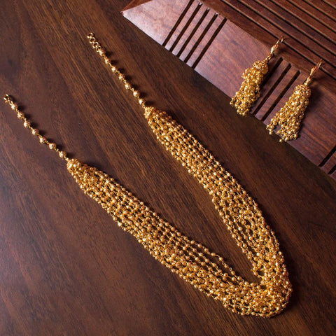 Sparkling gold plated necklace set