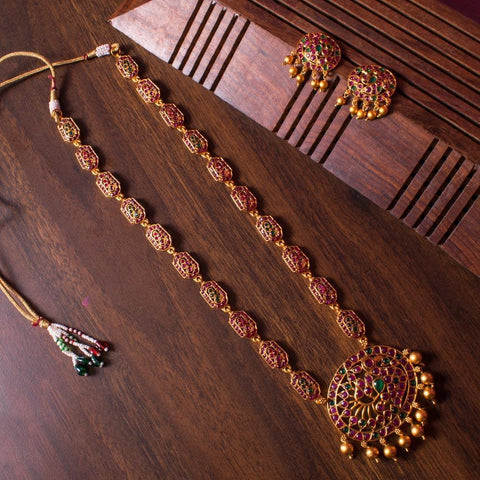 Red and green temple necklace set