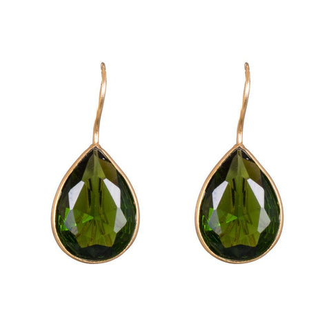 Deep green glass earrings