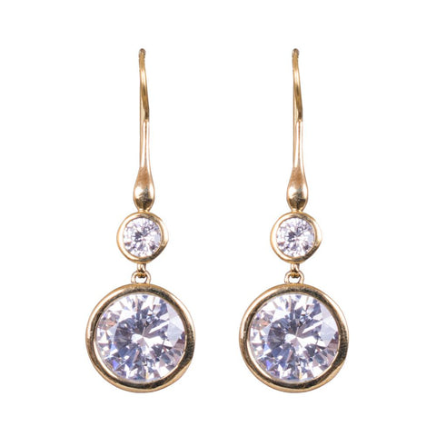 American diamond gold earrings