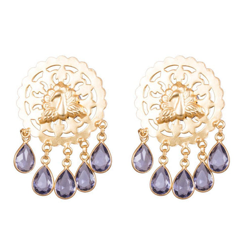 Unqiue Blue Stone Antique Earrings