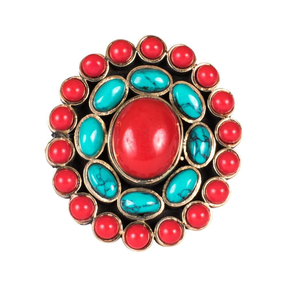Red And Blue Turquoise Finger Ring