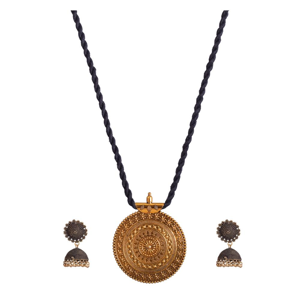 Black rope necklace set with jhumka