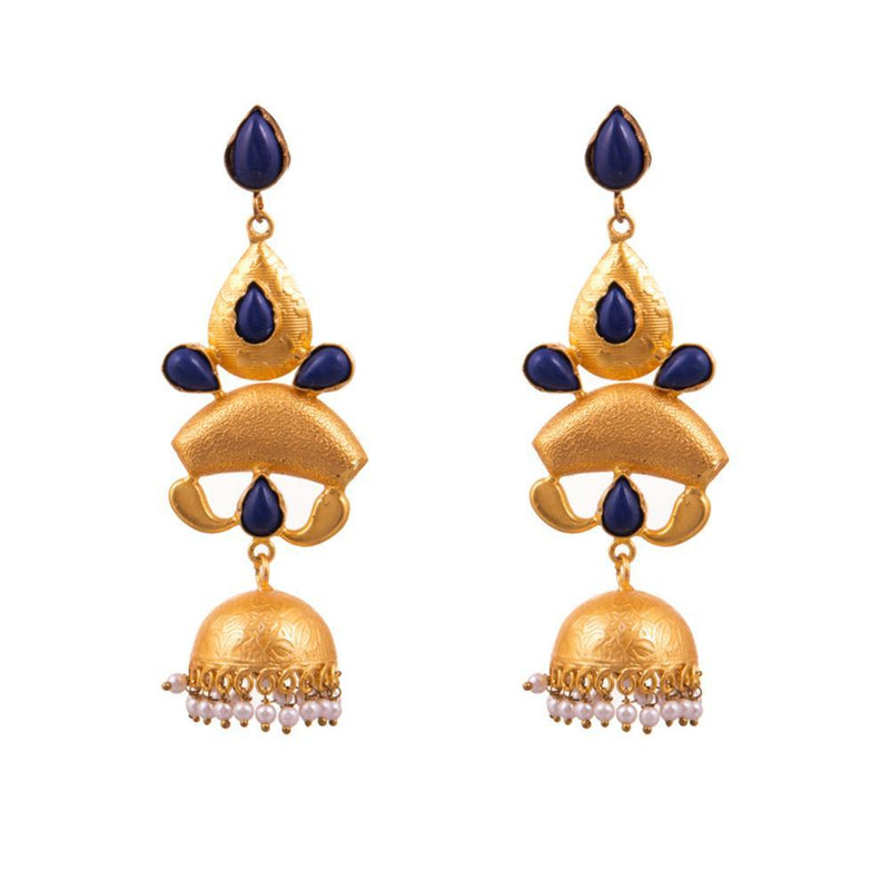 Navy Blue Layered Statement Earrings