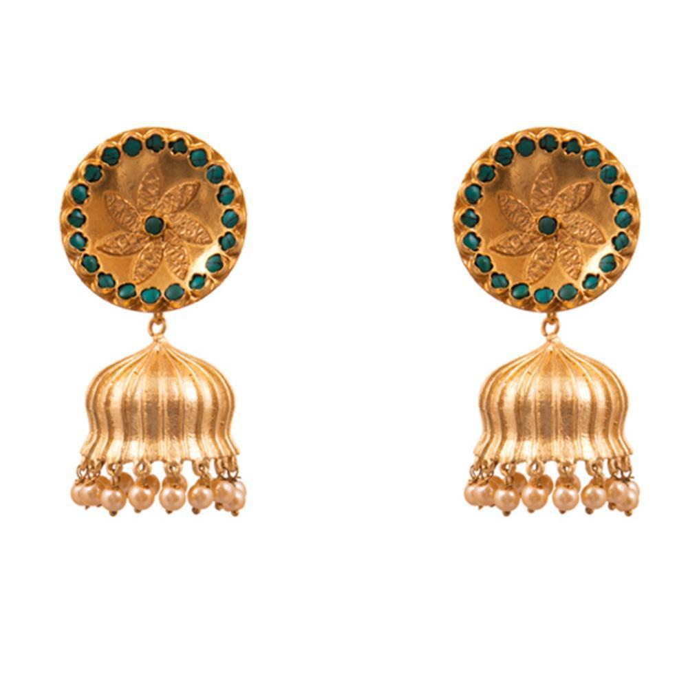 Green Beaded Gold Matte Jhumkas