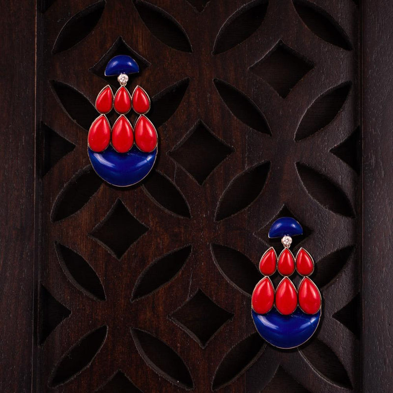 Red And Blue Embellished Statement Earrings