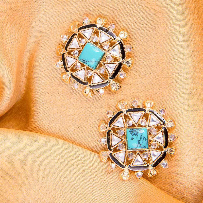Aqua And White Stone Stud Earrings