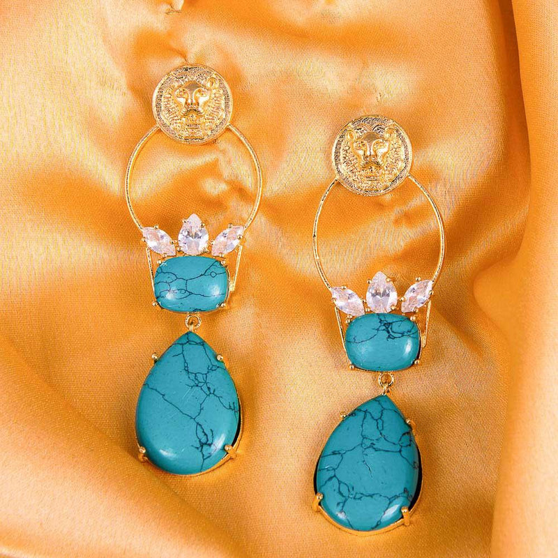 Turquoise Stone Shinning Gold Earrings