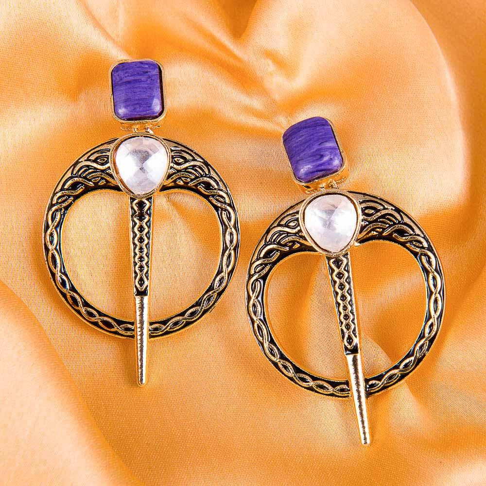 HandCrafted Purple Designer Earrings