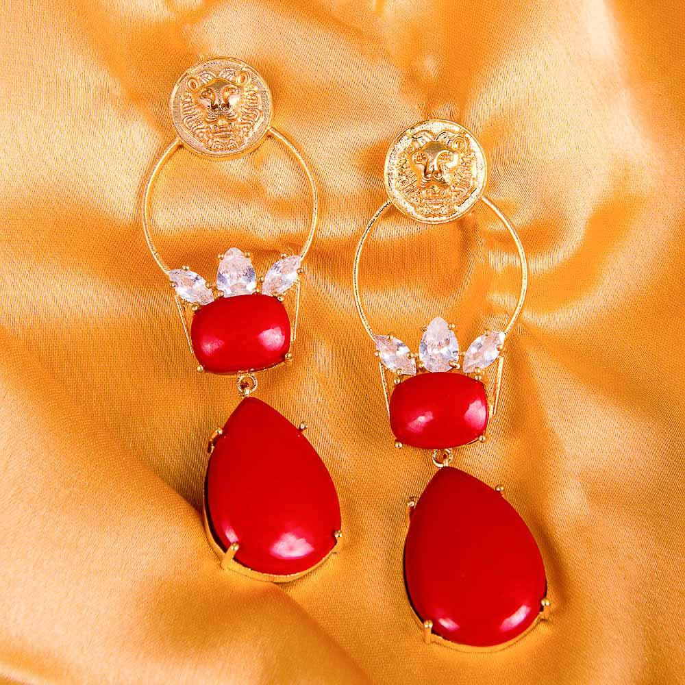 White Zircon Red Stone Gold Earrings