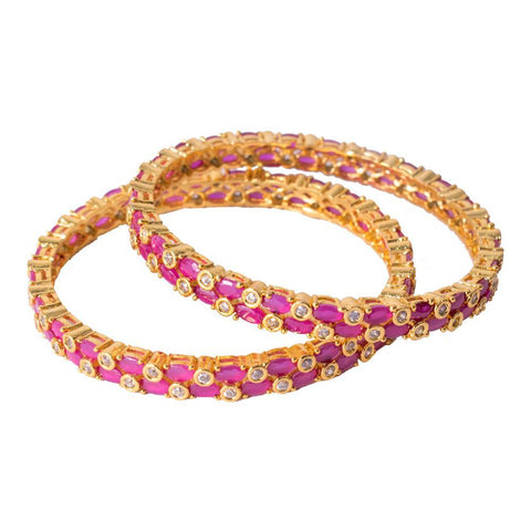 Stylish gold ruby bangles