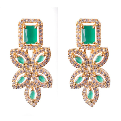 Emerald zircon earrings