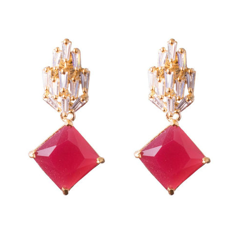 Red zircon earrings