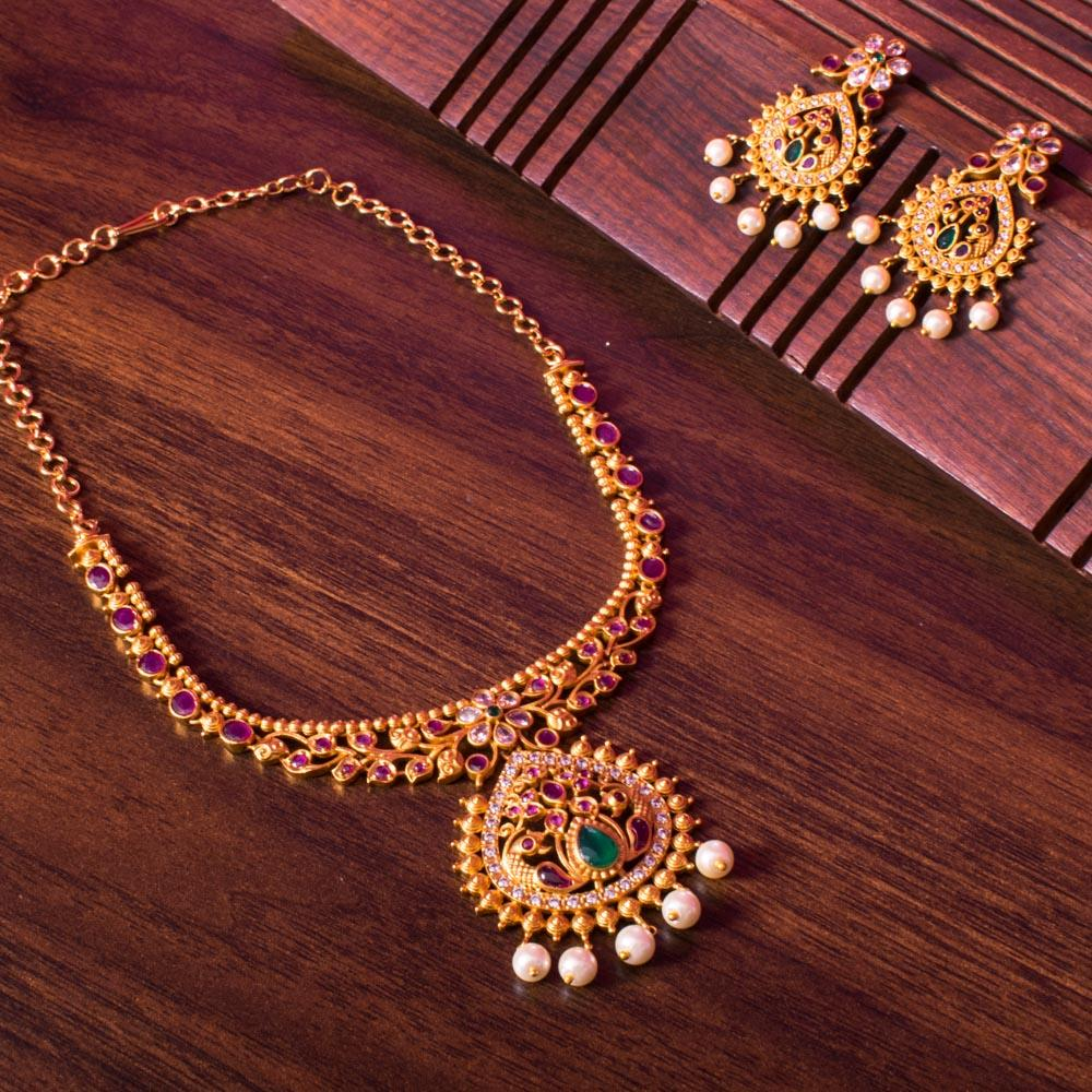 Gold plated zircon necklace set