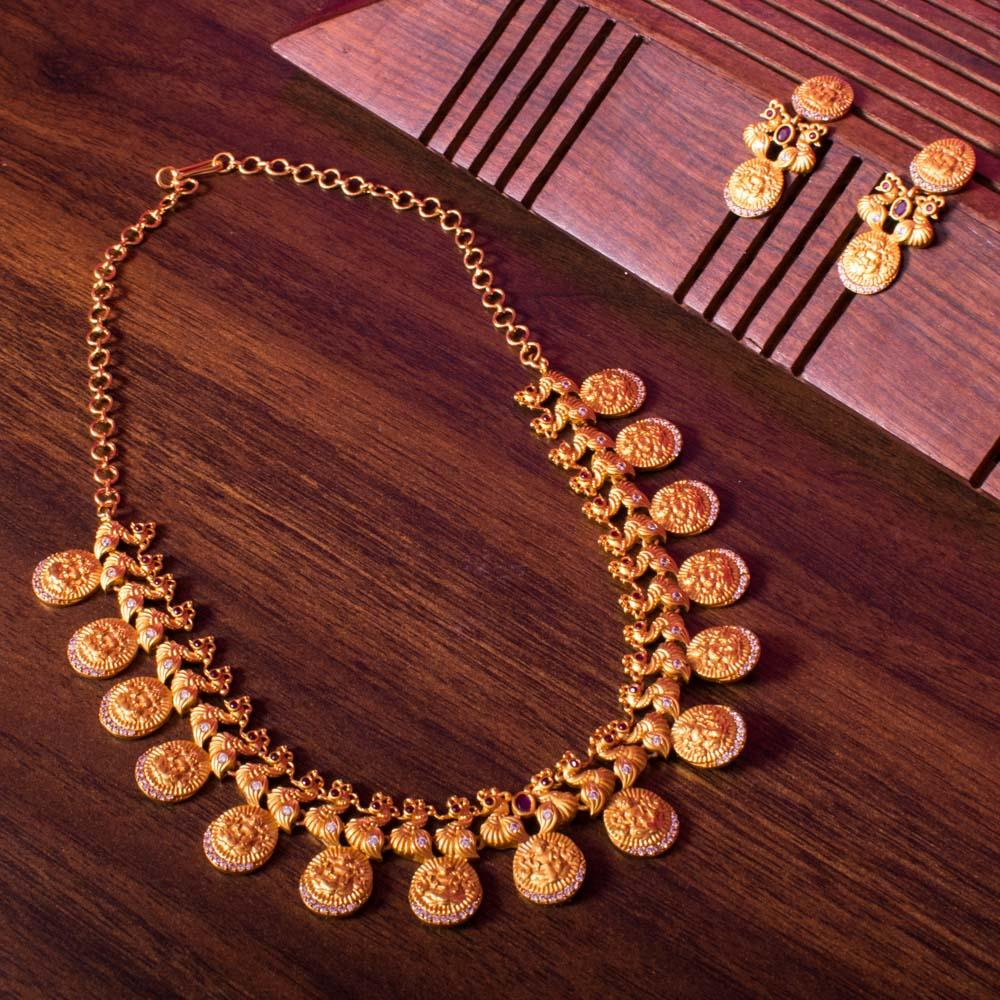 Peacock gold necklace set