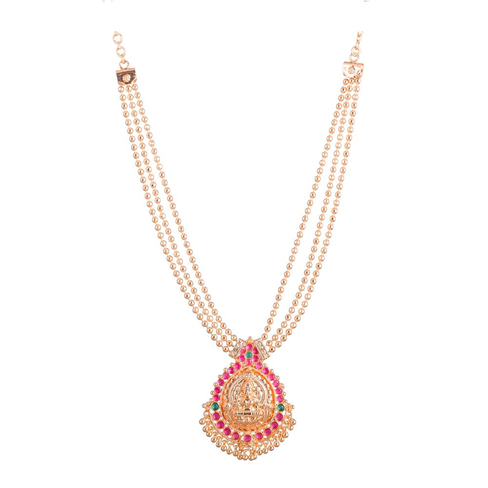 Three layered Lakshmi pendant necklace