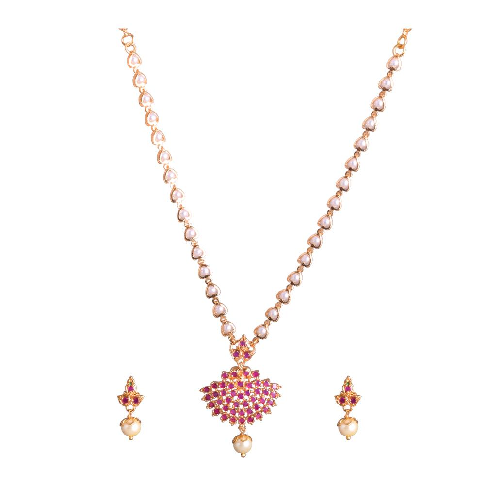 Pearl patterned ruby necklace set