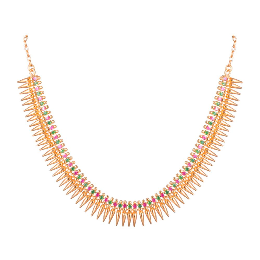 Gold platted necklace with ruby stones