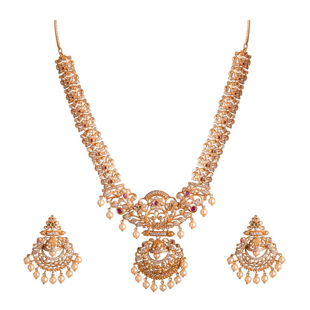Zircon studded Temple Jewellery Necklace Set