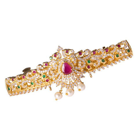 Red and Green Stones studded Sparkling Hair Clip