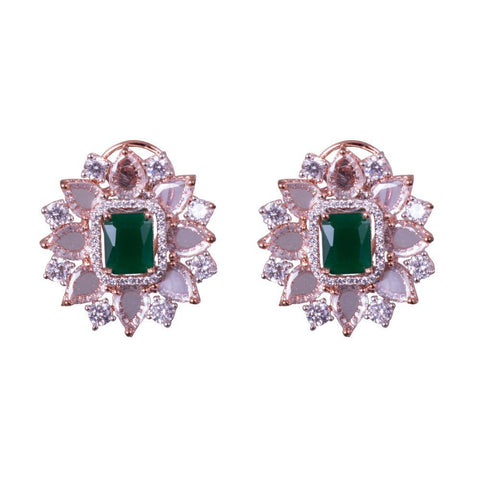 American diamond emerald jhumkas