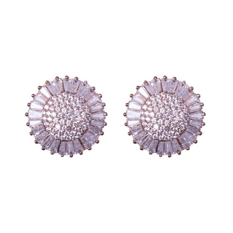 Circular clad floral earrings