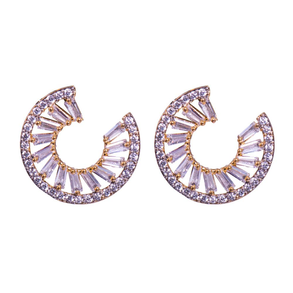 Semi circular diamond earrings