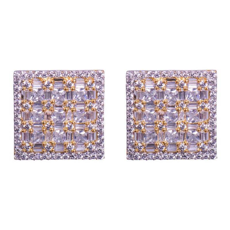Square American diamond earrings