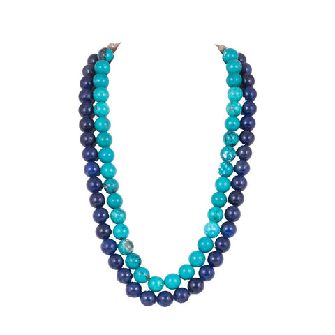 Dual layered bright and light blue necklace