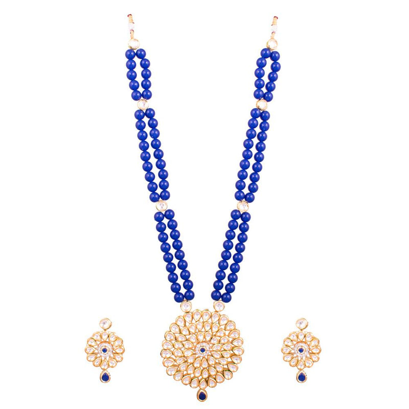 Blue Beaded With Kundan Pendant Set