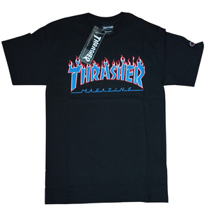 Thrasher x Champion Flame T Shirt Blazing Flames Black