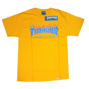 Thrasher x Champion Flame T Shirt Blazing Flames Gold