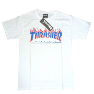 Thrasher x Champion Flame T Shirt Blazing Flames White