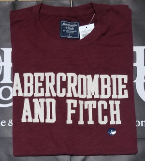 Abercrombie & Fitch Heritage Applique Logo Graphic Tee Burgundy