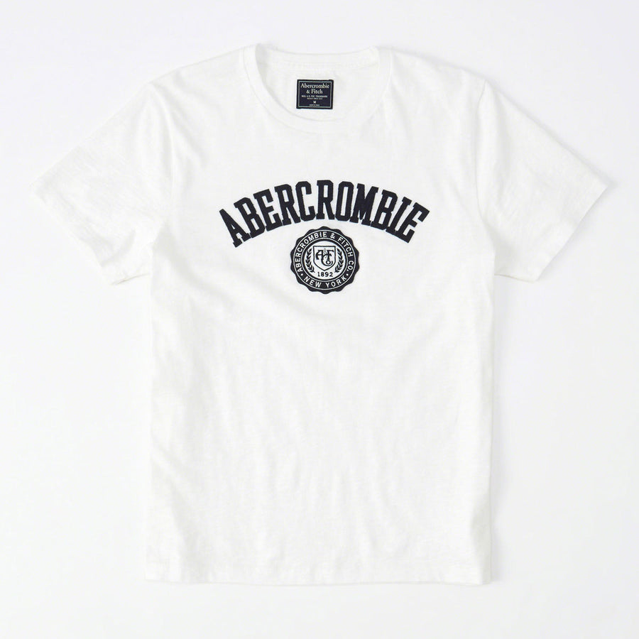 Abercrombie & Fitch Heritage Applique Logo Graphic Tee White