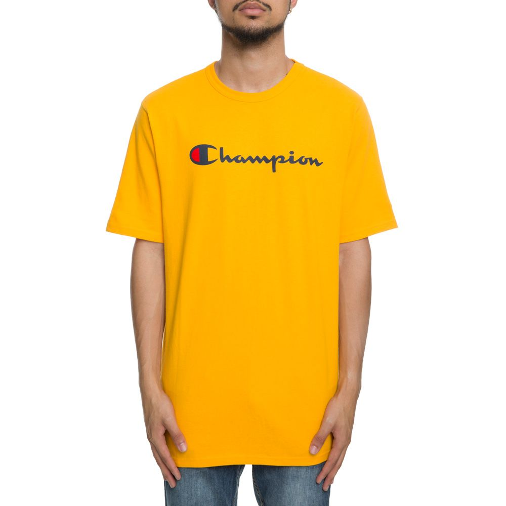Champion Script Logo T Shirt Team Gold Style Up