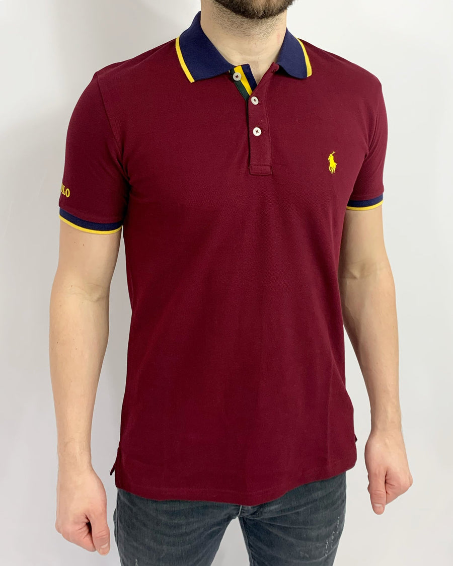 Polo Ralph Lauren Polo Shirt Tipped Maroon Custom Fit