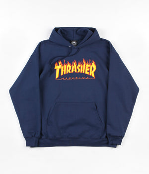 Thrasher Flame Logo Hoodie Navy - Style Up ae398f66b05