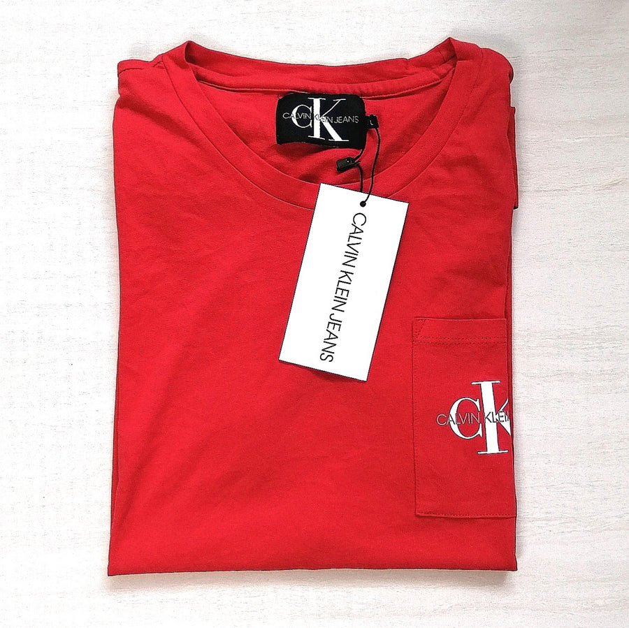 Calvin Klein Jeans Monogram Logo Pocket Tee Red
