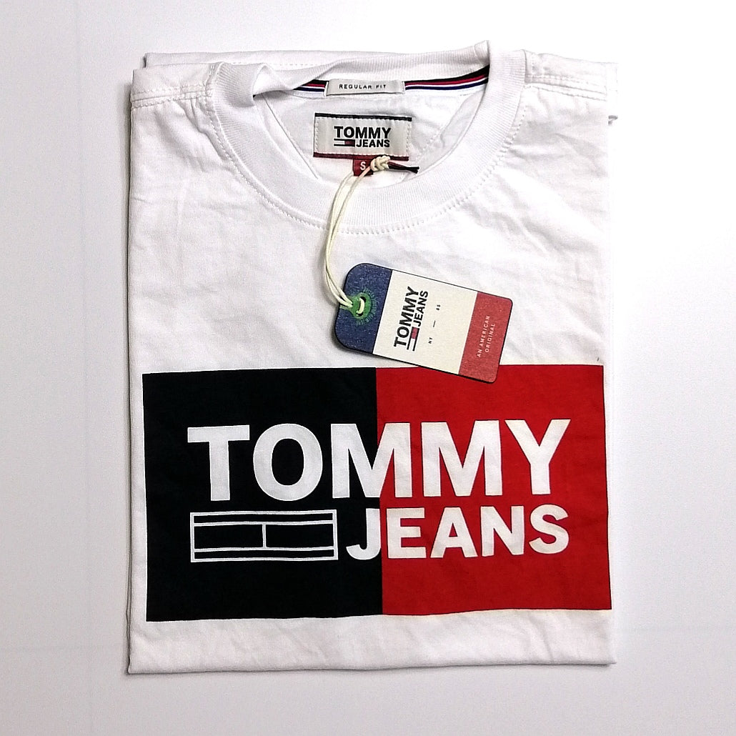 Tommy Hilfiger Jeans Essential Box Logo T Shirt White Style Up