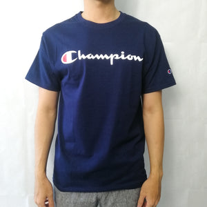 Champion Life® Heritage Script Logo Embroidered T-Shirt Oxford Grey