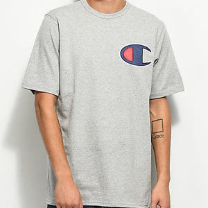 Champion Heritage Large Applique Logo T Shirt Oxford Grey