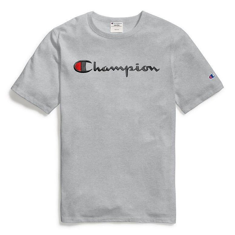 305a889f Champion Life® Heritage Script Logo Embroidered T-Shirt Oxford Grey ...