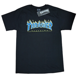 Thrasher x Champion Flame T Shirt Nebula Flames Black