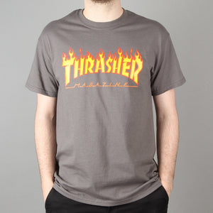 Thrasher Flame T-Shirt Charcoal Grey